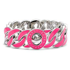 MARC BY MARC JACOBS 'Turnlock - Katie' Large Enamel Bracelet ($79) ❤ liked on Polyvore featuring jewelry, bracelets, accessories, pink, pulseras, neon jewelry, enamel jewelry, enamel bangle, pink bangles and neon bangles
