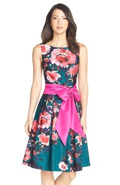 Eliza J Floral Print Faille Fit & Flare Dress (Regular & Petite) available at #Nordstrom  I am a sucker for bows...