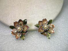 "Vintage Joan Rivers Enameled Floral Gold Clip Earrings, Faux Pearl Center, Magnolias - 1.25"""