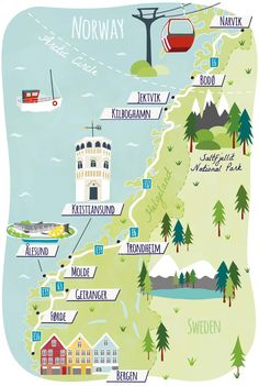 Illustrated Map of Norway for Guardian Travel showing Bergen, Trondheim, Alesund. Narvik, Alesund, Norway Roadtrip, Norway Travel, Tromso, Travel Maps, Travel Posters, Travel Europe, Jotunheimen National Park