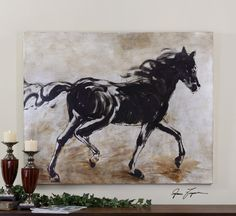 Uttermost Blacks Beauty. Frameless, hand painted artwork on canvas that has been stretched and attached to wooden stretching bars.