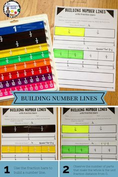 Need clarification on how to teach fractions on a number line and incorporate fraction bars? Dowlaod FREE fraction number line activity printables to teach building number lines with fraction bars. 3rd Grade Fractions, Teaching Fractions, Fractions Worksheets, Fourth Grade Math, Math Fractions, Teaching Math, Equivalent Fractions, Dividing Fractions, Free Worksheets