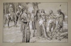 BAMPFYLDE: MORE CAREW AMONGST THE INDIANS. Image area 10x16 inches on grey board, ink, ink-wash, pencil. Terrific, large image of captive white man with American Indians. $2500