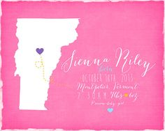 Custom Birth Announcement Map for Boy or Girl  by WanderingFables, $26.99