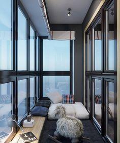 Interior Balcony, Apartment Balcony Decorating, Apartment Interior, Home Room Design, Home Office Design, Interior Design Living Room, House Design, Modern Apartment Design, Small Balcony Design