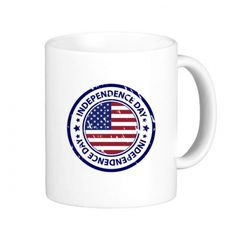 USA America Independence Day Flag Circle Postmark Illustration Pattern Classic Mug White Pottery Ceramic Cup Milk Coffee With Handles 350 ml #USA #America #Independence #Flag #Circle #Postmark