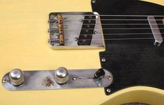 "1952 Fender® Telecaster® Blackguard (US $12.000) Nitrocellulose body and neck refinish. All hardware and wiring scheme with a blend circuit, tone cap, resistor is original. No-line Kluson® tuners, decal and black phenolic pickguard. Refretted long ago with vintage frets. 'Tadeo' model (mid '52). Neck date: TG 7-31-52, body: Tadeo 8-6-52, bridge plate: 3477. Full D shape neck. Thickness fret: .870""/.966"". Weigh: 7lb. 8oz. Fender, tweed 'Thermometer' case."