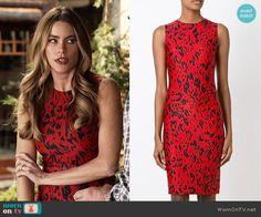 Gloria's red leopard print dress on Modern Family.  Outfit Details: http://wornontv.net/54845/ #ModernFamily