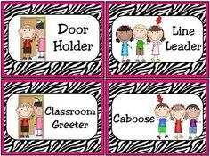 Classroom Leaders Job Cards Zebra Print