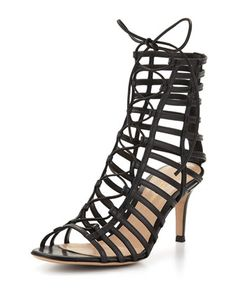 Caged Leather Lace-Up Sandal, Black by Gianvito Rossi at Neiman Marcus.
