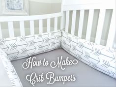 Here I give you a glimpse into my DIY baby boy nursery. See the full tutorial how to make crib bumpers yourself. With custom fabric specifically for your nursery, and less expensive than retail.