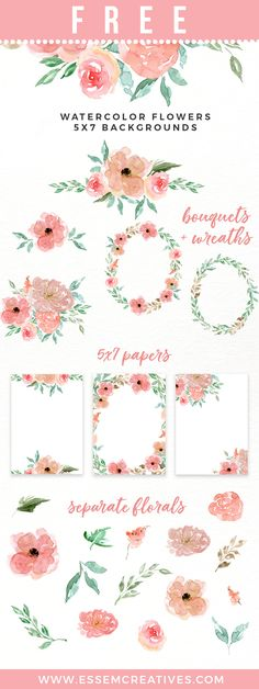 Free Peachy Pink Watercolor Flower Collection! {newsletter subscription required}