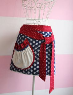 Red White and Blue Towel Apron