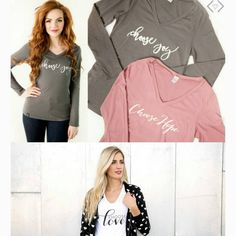 Because some days you just have to choose joy, hope, love and gratitude!! Get these darling long & short sleeve tee's $16.95 and under with FREE shipping using code : CHOOSE16