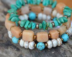Green Turquoise Stone Chips, Brass, Bronze, Howlite, Cream, Turquoise. Pale Orange Stone, Memory Wire Wrap Bracelet