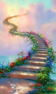 Steps to Heaven, along with flowers and a majestic sky. The dove is there too. Holy Spirit dwell in my soul.