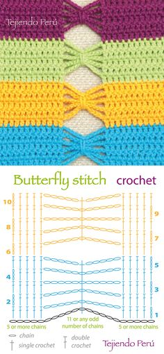 Crochet: butterfly stitch chart (diagram or pattern)!   ༺✿ƬⱤღ http://www.pinterest.com/teretegui/✿༻