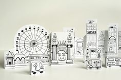 Paper City – Sydney Opera House and Luna Park. Free to print on cardstock or heavy paper. Your little one can color, or leave as is :).