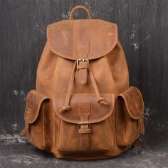 23922c874 mochila cuero hombre · Brand Men Real Genuine Leather Backpack Vintage  Crazy Horse Rucksack Drawstring Extra Capacity Male Weekend Travel