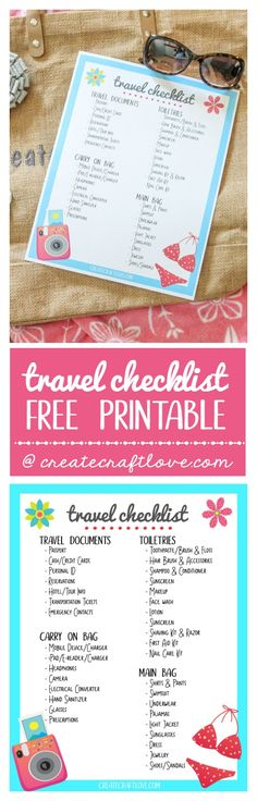 27 best Free Travel Printables images on Pinterest Free travel - packing checklist template