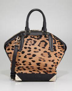 Alexander Wang Emile Leopard-Print Calf Hair Satchel Bag a64553faf5