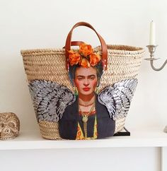 Viva Frida Straw Bag by Brighton Babe @ Etsy Textiles, Frida And Diego, Boho Bags, Basket Bag, Baby Store, Custom Bags, Handmade Crafts, Bag Making, Straw Bag