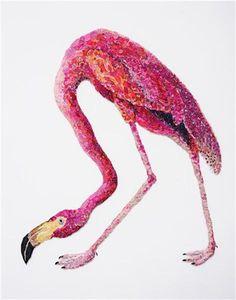 Flaming Flamingo 2011 -- after John James Audubon, 1838, by Louise Saxton. reclaimed needlework, lace pins, nylon tulle, 116x98cm