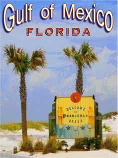 Pensacola-Beach-Gulf-Mexico-Florida-United-States-Trvl-Advertisement-Art-Poster