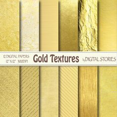 Gold Digital Paper: GOLD TEXTURES Golden Foil by DigitalStories