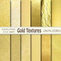 Gold Digital Paper: GOLD TEXTURES Golden Foil by DigitalStories