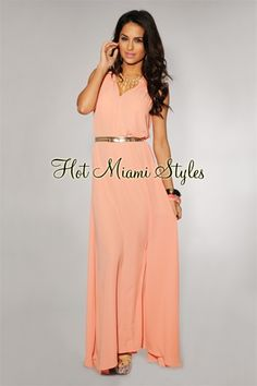 Peach Grecian Belted Maxi Dress Womens clothing clothes hot miami styles hotmiamistyles hotmiamistyles.com sexy club wear evening  clubwear cocktail party kim kardashian dresses