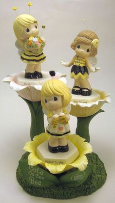 Precious Moments Cute As Can Bee Set of 3 Figurines & Flower Display Honey Bees #FigurineswithDisplay