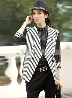 Fabulous Slim Three Quarter Sleeves Striped Blazer : Tidebuy.com