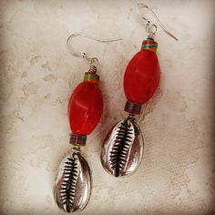 ethnic | red coral | cowrie shell earrings