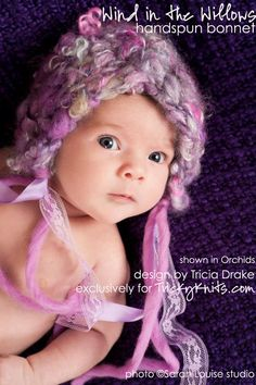 Newborn Girl Hat Photo Prop Chunky Handspun Bonnet Beanie for Baby Girl Photo Shoot in Orchids original designer TrickyKnits Tricky Knits. $40.00, via Etsy.
