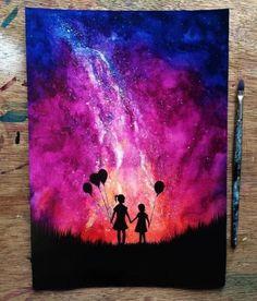 Silhouette art with background Galaxy Painting, Galaxy Art, Ciel Nocturne, Silhouette Painting, Spray Paint Art, Art Anime, Crayon Art, Tumblr Wallpaper, Pastel Art