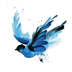 Illustration with oil painted flying blue bird with spread wings for digital print.