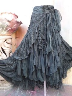 20%OFF gothic black lace shabby maxi skirt boho mori by wildskin
