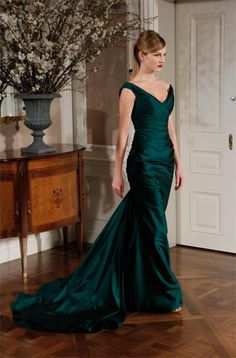 Emerald Romona Keveza gown would make a lovely bridesmaid dress for a winter wedding. (oh screw that noise! Can I just get married in this? white would wash me out so bad...lol)