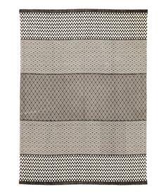 Mønstret gulvteppe i bomull | Naturhvit/Antrasittgrå | Home | H&M NO