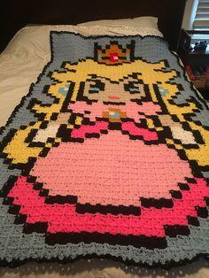 Princess peach crochet blanket by Macie