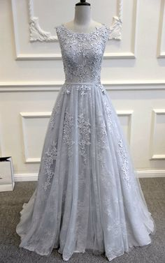 Gray Blue Lace Wedding Dress by WeekendWeddingDress on Etsy https://www.etsy.com/listing/266732254/gray-blue-lace-wedding-dress