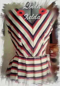 Vestido de rayas. Patrón del año 1957