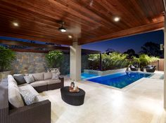 Having a pool sounds awesome especially if you are working with the best backyard pool landscaping ideas there is. How you design a proper backyard with a pool matters. House Design, House, Home, Outdoor Rooms, House Exterior, New Homes, Pool Houses, Outdoor Design, Outdoor Kitchen