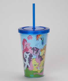 Cuties won't have to leave My Little Pony at home once they're treated to this colorful travel cup! Perfect for hydrating on the go, it boasts double-walled construction that keeps drinks cold and comes with a coordinating lid and straw for simple sipping.Includes cup, lid and strawHolds 16 oz.PlasticHand washImported