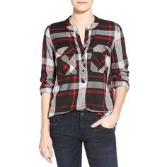 kensie Plaid Band Collar Shirt (£22) via Polyvore featuring tops, red, red long sleeve shirt, red tartan shirt, tartan shirt, red top and red long sleeve top