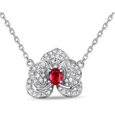 CENDRINE Pendentif or Blanc Rubis et Diamant
