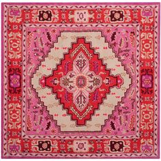 Bellagio Red Pink/Ivory 5 ft. x 5 ft. Square Area Rug