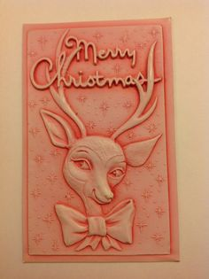 1950s vintage plastic christmas postcard Rudolph the by MrsPetunia