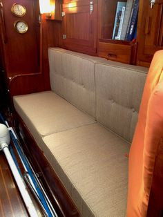 Customer's boat interior sofa cushions in Sunbrella Linen Sesame